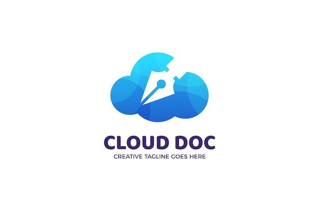 Modelo de logotipo de arquivo de documento na nuvem
