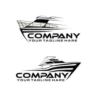 Modelo de logotipo de arte de linha de barco rápido
