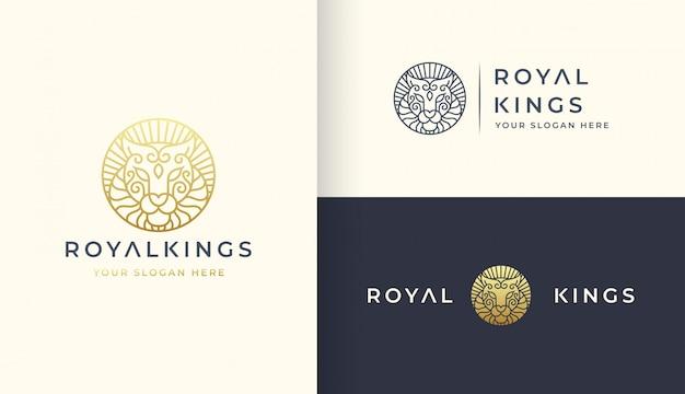 Modelo de logotipo de arte de linha de leão