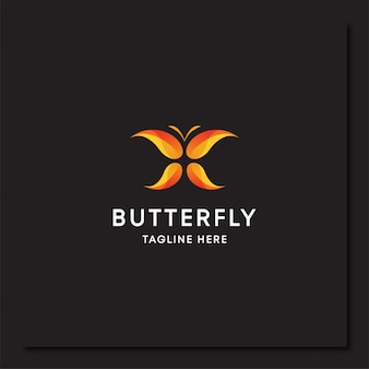 Modelo de logotipo de arte em gradiente de borboleta colorida