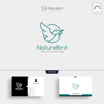 Modelo de logotipo de arte natureza pássaro linha com cartão