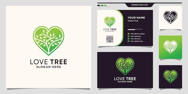 Modelo de logotipo de árvore com conceito de coração e design de cartão de visita premium vector