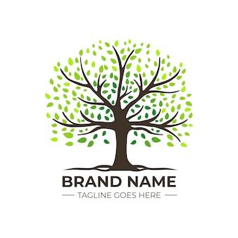 Modelo de logotipo de árvore da natureza da empresa gradiente verde