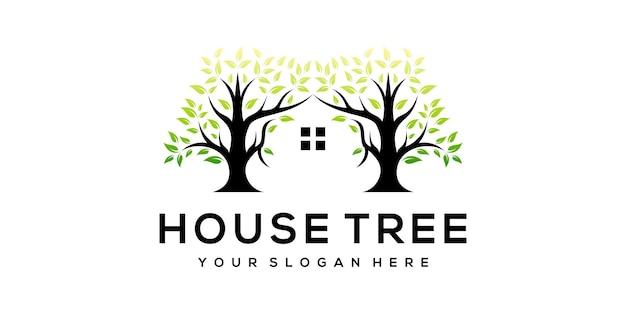 Modelo de logotipo de árvore de casa moderna