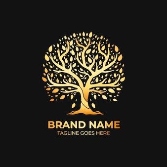 Modelo de logotipo de árvore de natureza de empresa luxo estilo ouro