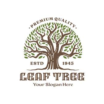 Modelo de logotipo de árvore, design de logotipo vintage. ilustração vetorial
