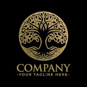 Modelo de logotipo de árvore dourada exclusivo