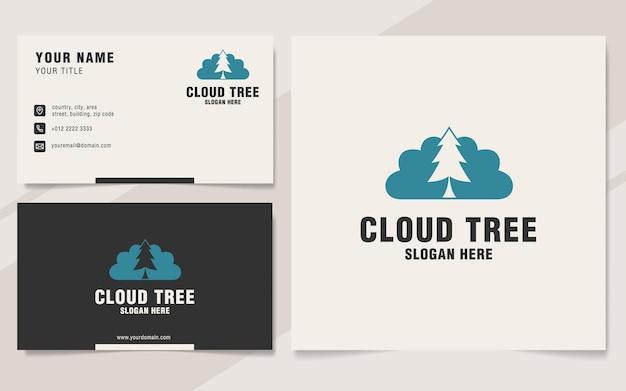 Modelo de logotipo de árvore em nuvem em estilo monograma