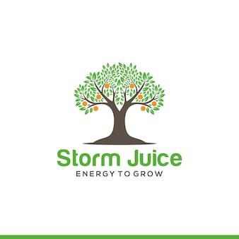 Modelo de logotipo de árvore laranja