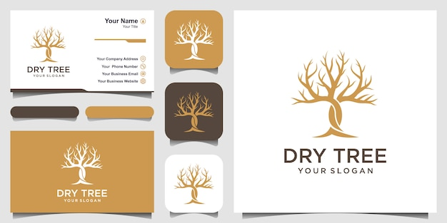 Modelo de logotipo de árvore seca
