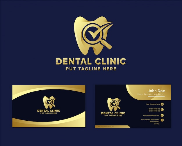 Modelo de logotipo de atendimento odontológico de luxo premium