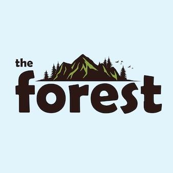Modelo de logotipo de aventura de montanha de floresta