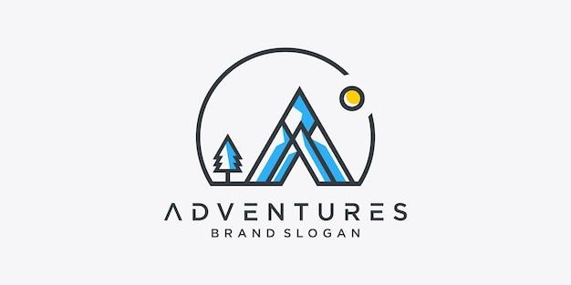 Modelo de logotipo de aventuras vetor premium