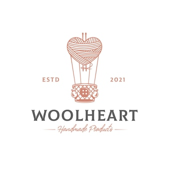 Modelo de logotipo de balão de ar de coração de lã