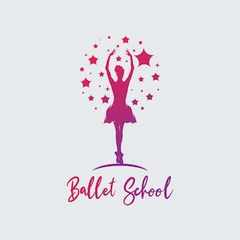 Modelo de logotipo de balé de dança colorida