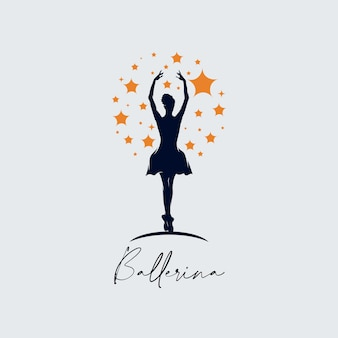 Modelo de logotipo de ballet de dança