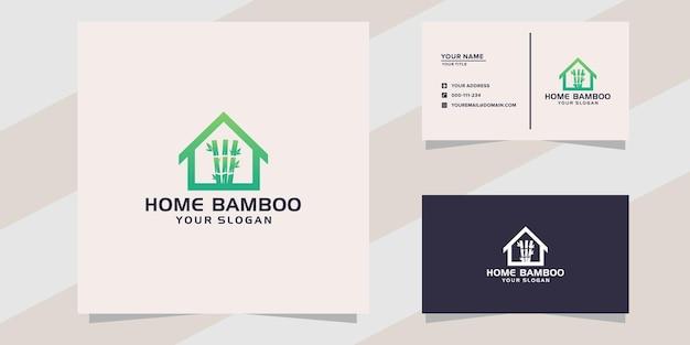 Modelo de logotipo de bambu para casa