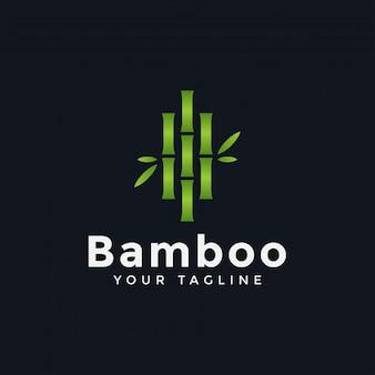 Modelo de logotipo de bambu verde