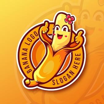 Modelo de logotipo de banana com polegares para cima