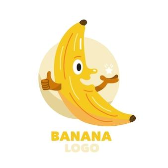 Modelo de logotipo de banana feliz de lado com mãos