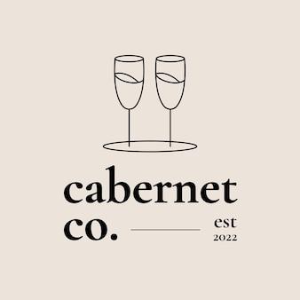 Modelo de logotipo de bar de vinhos com uma taça de vinho mínima