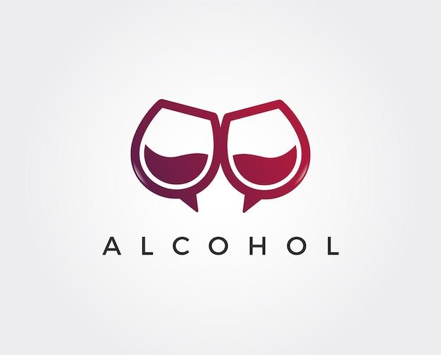 Modelo de logotipo de bar de vinhos