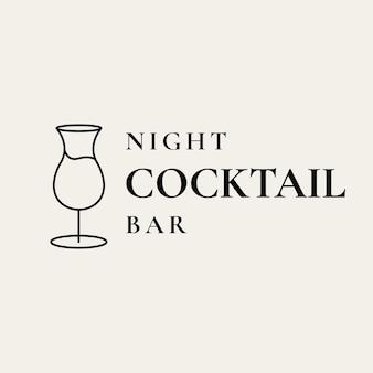 Modelo de logotipo de bar luxuoso com copo mínimo de coquetel