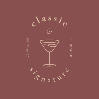 Modelo de logotipo de bar luxuoso com ilustração mínima de copo de coquetel