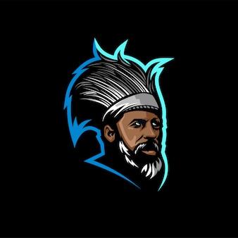 Modelo de logotipo de barba