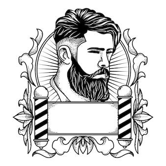 Modelo de logotipo de barbearia de ilustração desenhada mão