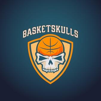 Modelo de logotipo de basquete de caveiras de cesta. equipe de esporte ou emblema do campeonato. sinal da liga universitária.