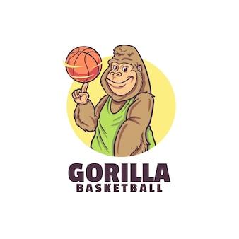 Modelo de logotipo de basquete gorila