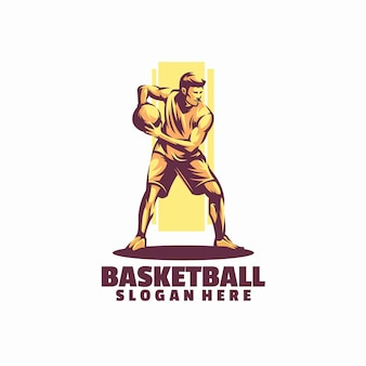 Modelo de logotipo de basquete isolado em branco