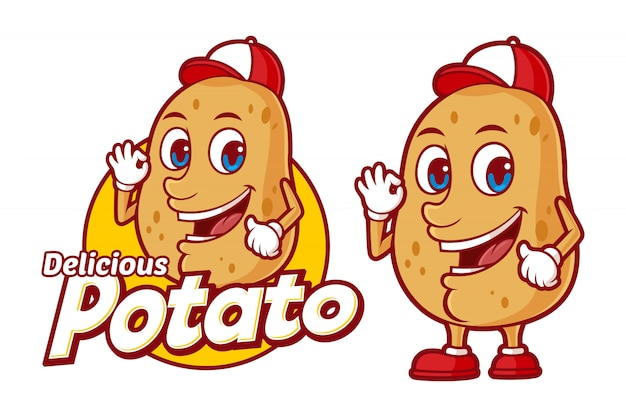 Modelo de logotipo de batata deliciosa, com personagem de desenho animado