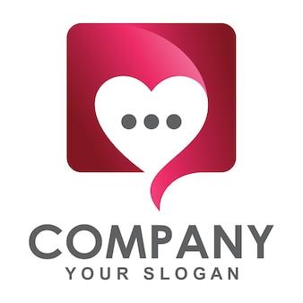 Modelo de logotipo de bate-papo de amor