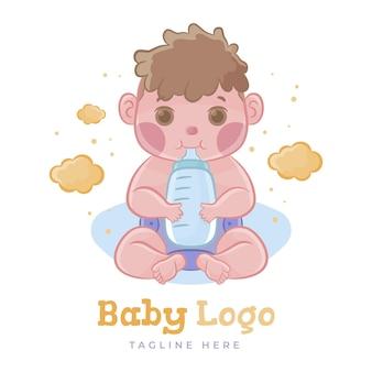 Modelo de logotipo de bebê fofo