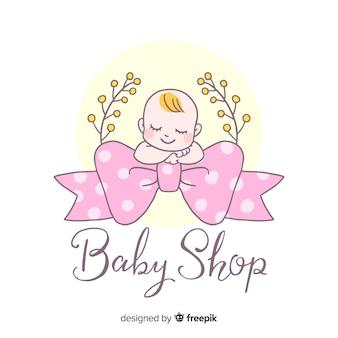 Modelo de logotipo de bebê linda mão desenhada