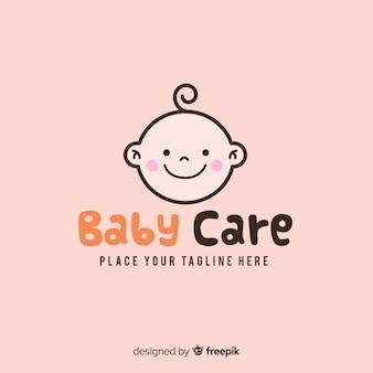 Modelo de logotipo de bebê moderno mão desenhada