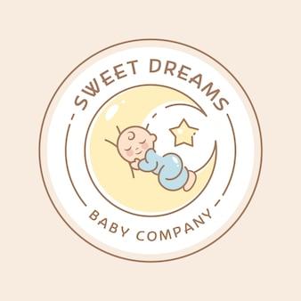 Modelo de logotipo de bebê sonolento