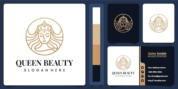 Modelo de logotipo de beleza com cartão de visita