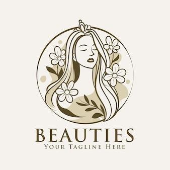Modelo de logotipo de beleza de mulher com círculo de flores