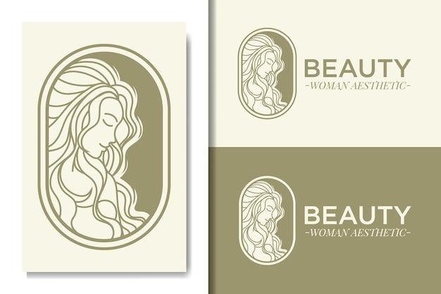 Modelo de logotipo de beleza feminina estética simples
