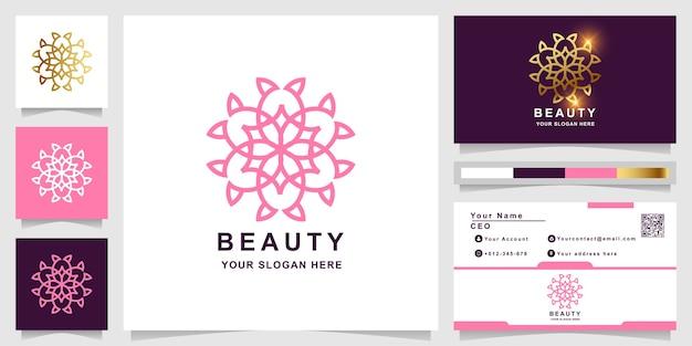 Modelo de logotipo de beleza, flor, boutique ou ornamento com design de cartão de visita. pode ser usado design de logotipo de spa, salão de beleza ou boutique.