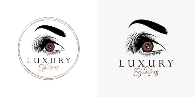 Modelo de logotipo de beleza luxuosa para cílios