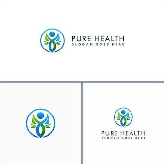 Modelo de logotipo de bem-estar. logotipo do caráter humano. natureza holística da saúde