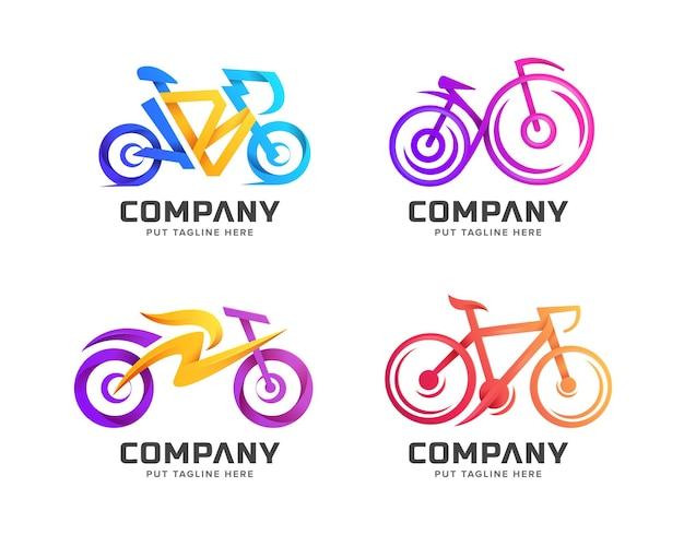 Modelo de logotipo de bicicleta colorido criativo para negócios