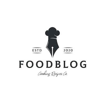 Modelo de logotipo de blog de receitas de comida