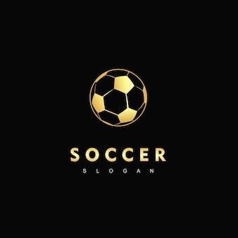 Modelo de logotipo de bola de futebol dourada