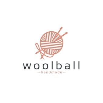 Modelo de logotipo de bola de lã
