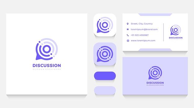 Modelo de logotipo de bolha de bate-papo de discussão e cartão de visita